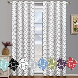 Meridian White Grommet Room Darkening Window Curtain Panels,
