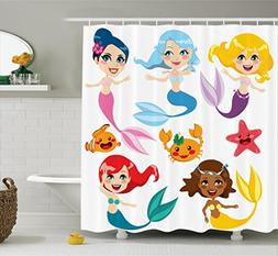 Ambesonne Mermaid Decor Shower Curtain Set, Collection Of Cu