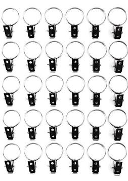 yueton 30pcs Metal Double Hole Curtain Clip with Ring