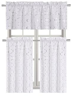 GoodGram Metallic Foil Lattice Kitchen Curtain Tier & Valanc