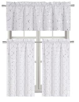 Metallic Foil Lattice Kitchen Curtain Tier & Valance Set - A
