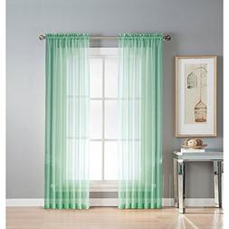 "Midwest Collection 1 Voile Sheer Window Curtain Panel 55"" W"