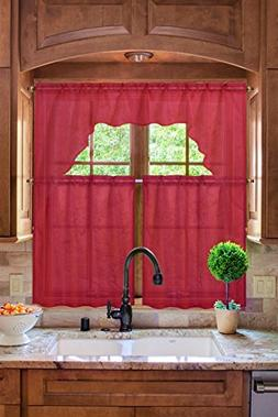 Midwest Kitchen Window Curtain Set 3pc Light Filter in Solid