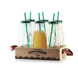 Palais Glassware® High Quality Milk Bottles with Green Stra