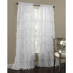 "Mk Collection Gypsy Crushed Ruffle Sheer Curtains - 55"" Widt"
