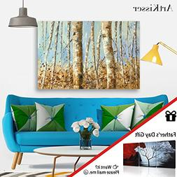 ArtKisser Large Modern Birch Painting Wall Art Colorful Tree