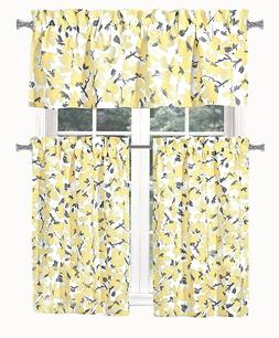 Modern Chic Yellow & Gray Floral 3 Pc. Complete Shabby Kitch