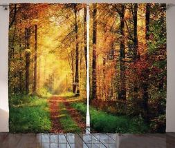 Modern Decor Curtains by Ambesonne, Autumn Forest Scenery wi