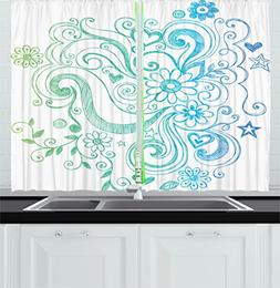 Modern Decor Kitchen Curtains by Ambesonne, Rainbow Colored