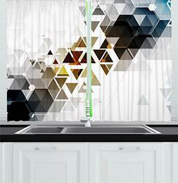 Ambesonne Modern Decor Kitchen Curtains, Abstract Technology