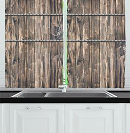 Ambesonne Modern Decor Kitchen Curtains, Rustic Wooden Long