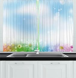 Ambesonne Modern Decor Kitchen Curtains, Abstract Image Flow