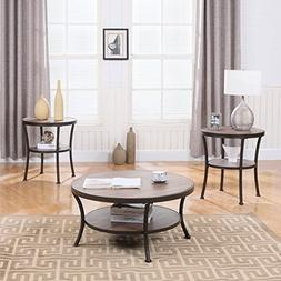 3 Piece Modern Round Coffee Table and 2 End Tables Living Ro