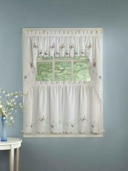 Monarch Embroidered Butterfly White Kitchen Curtains - Tiers