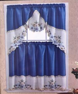 MONICA EMBROIDERED KITCHEN CURTAIN 3 PCS SET BLUE CAMELIA