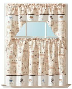Morning Coffee Complete Kitchen Curtain Tier & Swag Set