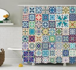 Moroccan Decor Shower Curtain Set By Ambesonne, Floral Patch