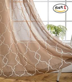 Miuco Moroccan Embroidered Semi Sheer Curtains Faux Linen Wi