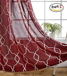 Miuco Moroccan Embroidered Semi Sheer Curtains Faux Linen Gr