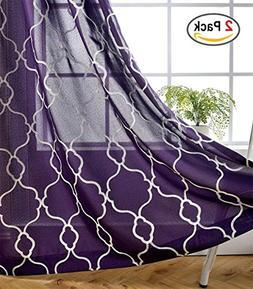 Miuco Moroccan Embroidery Semi Sheer Curtains Faux Linen Gro