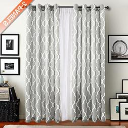 Moroccan Tile Printed Linen Curtains 95 inch Long for Bedroo