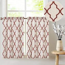 Moroccan Print Tier Curtains Kitchen Cafe Half Window Panels