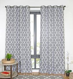 "Moroccan Room Darkening Grommet Home Curtains 50"" X 84"" Gray"