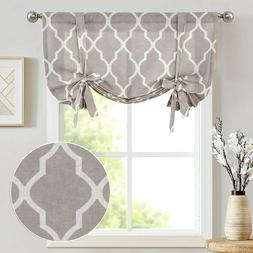 JINCHAN Valance Moroccan Paisley Kitchen Curtains Tie Up Rod