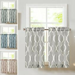Moroccan Tile Print Tier Curtains for Kitchen Lattice Cafe C