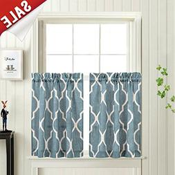 Moroccan Tile Printed Tier Curtains for Kitchen Modern Cafe