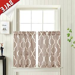 Moroccan Tile Printed Tier Curtains for Kitchen Lattice Cafe