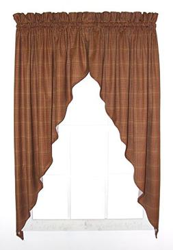 Morrison Plaid Check Print Swags / Jabot Curtains Pair 90-In