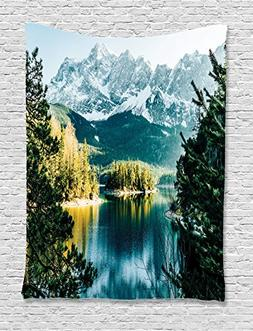 Mountain Tapestry Lake House Decor by Ambesonne, Mountain La