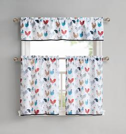 Multi Rooster Complete 3 Pc Kitchen Curtain Tier & Valance S