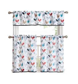 GoodGram Multi Rooster Complete 3 Pc Kitchen Curtain Tier &