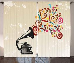 Ambesonne Music Decor Curtains by, Vintage Vinyl Record Play
