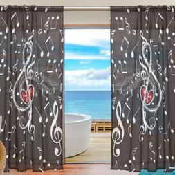 Music Note Modern Sheer Tulle <font><b>Curtains</b></font> f