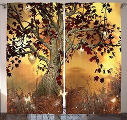 Ambesonne Mystical Tree Decor Curtain by, Old Twisted Tree a
