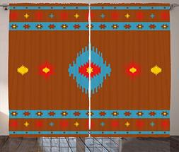 Native American Curtains by Ambesonne, Ethnic Geometric Desi