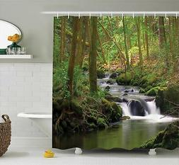 Ambesonne Nature Shower Curtain Green Decor, Waterfall and S