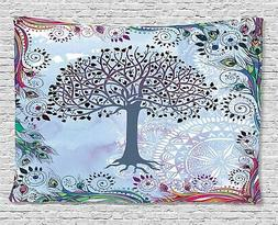 Ambesonne Nature Tapestry, Tree of Life Motif with Peacock F