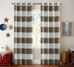 Turquoize Nautical Blackout Curtains, Grommet Top, Light Blo