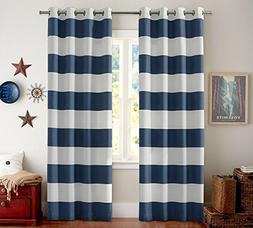 Turquoize Blackout Thermal Insulated Curtains Striped for Li