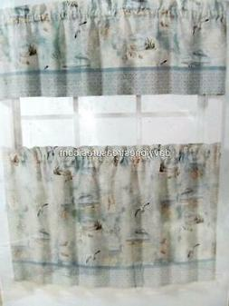 Nautical Cafe Curtain Set of Tiers 36 inch HIGH TIDE Boating