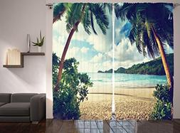 Nautical Curtains Palm Trees Sunset Decor by Ambesonne, Summ