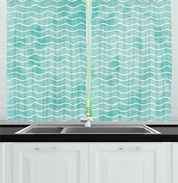 Ambesonne Nautical Kitchen Curtains, Soft Pastel Colored Oce