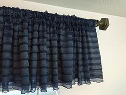 Navy Blue Ruffled Valance Curtain Extra Wide Window Treatmen