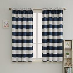 Deconovo Navy Blue Striped Blackout Curtains Rod Pocket Naut