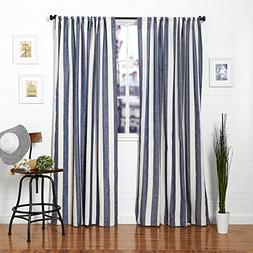 Homier Navy Blue Striped Linen Blend Window Curtain/drape/pa