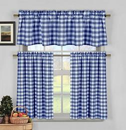 Navy Blue White Gingham Checkered Design Kitchen Curtains, 3